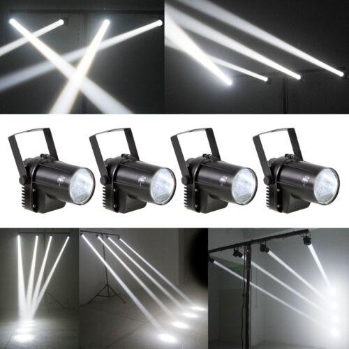 4x White 3W LED Pinspot Light Beam Spotlight Disco Party DJ Effect Lighting
