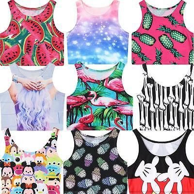 2015 Summer T Shirt Fruit Animal Space Galaxy 3D Print Funny Crop Tank Top Vest