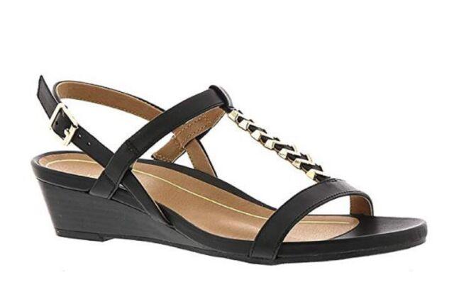 4ddc60895dc3 Vionic Orhaheel PORT CALI Leather Open Toe Ankle Strap Sandals BLACK 5 M NIB