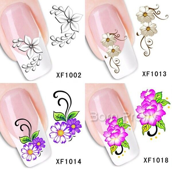 1Sheet Blooming Red White Purple Flower Butterfly Nail Art Water Decals Transfer