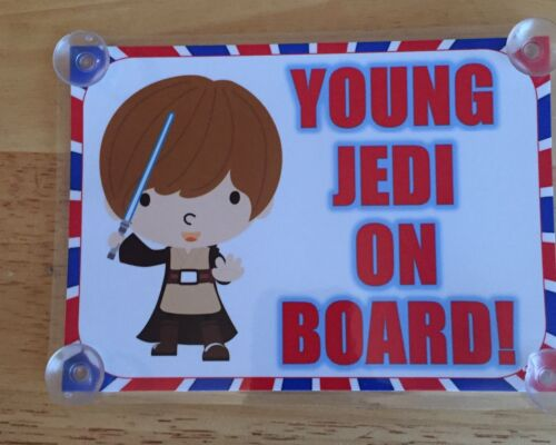 Young Jedi On Board  Laminated Car Sign