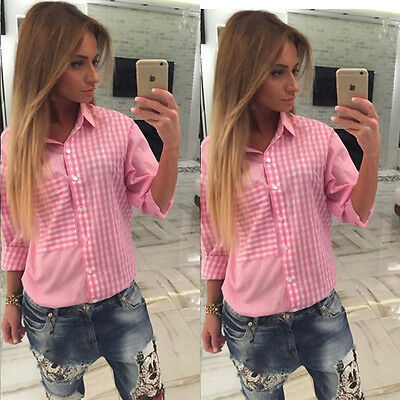 New Women's Fashion Long-Sleeve Loose Pink Plaid Shirt Cotton Blouse Top Casual