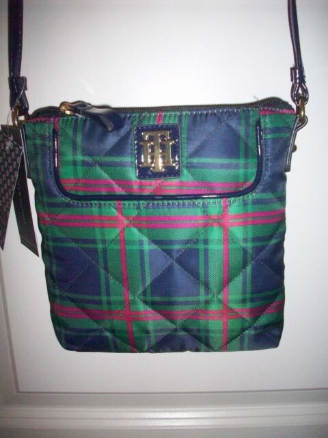 Tommy Hilfiger Green/Blue/Pink Plaid X-body Bag, NWT, style 6922745 467