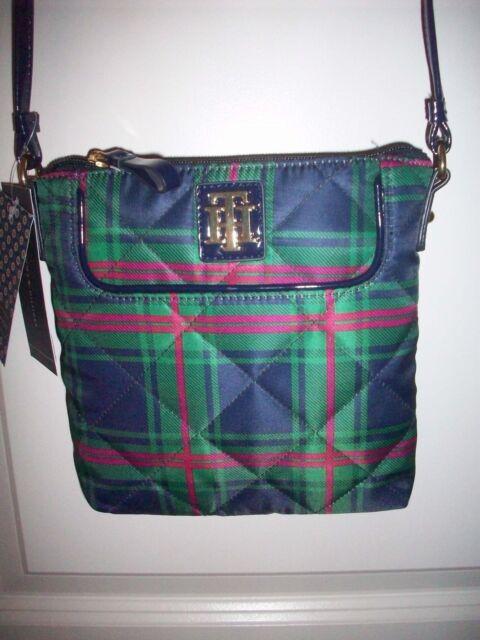 Tommy Hilfiger Green/Blue/Pink Plaid X-body Bag, NWT, style 6922745 467