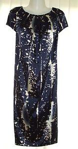 Kaleidoscope-Ivory-amp-Navy-Sateen-Shift-Dress-Size-12-R13
