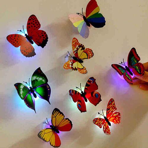 1x Butterfly LED Night Light Lamp Random Color Changing Luminous Beautiful Decor