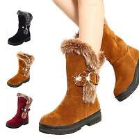 women fashion rabbit fur mid calf snow boot rhinestone buckle suede casual shoe