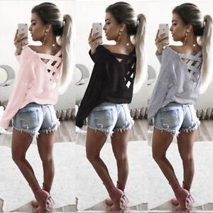 Damen-Bluse-Pullover-T-Shirt-Pulli-Rueckenfrei-Shirts-Langarm-Hemd-Tunika-M-L-XL