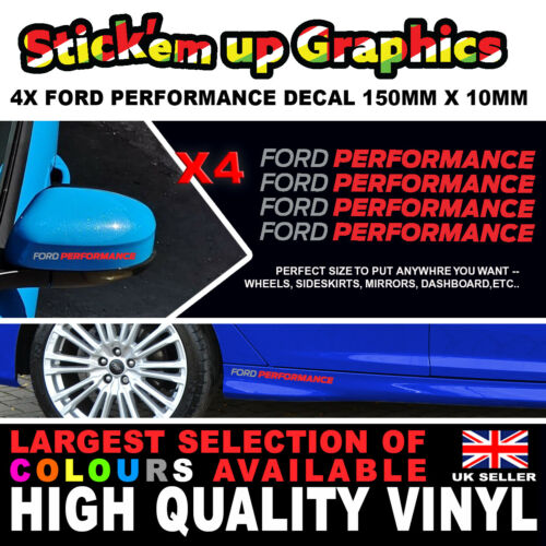 4 x FORD PERFORMANCE RACING 150mm x 10mm Decal Sticker Detail Wheel Dash Boot ST