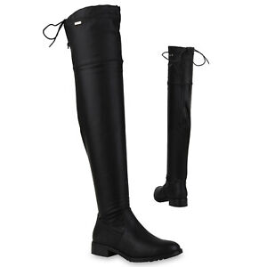 Damen-Overknees-Stiefel-Gefutterte-Boots-Leder-Optik-819966-Schuhe