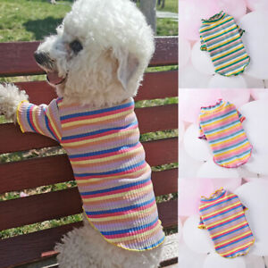 Various-Cute-Pet-Dog-Clothes-Rainbow-Striped-T-Shirt-Vest-Summer-Small-Cat-Puppy