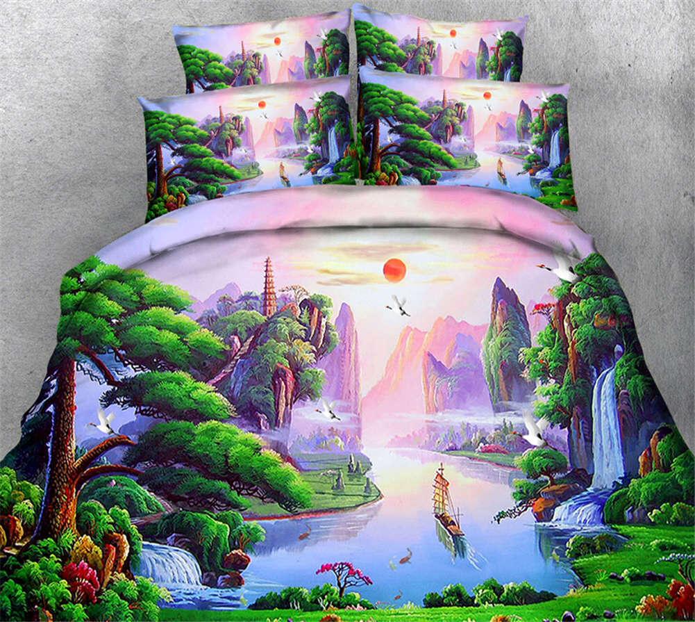 Amongst White Cloud 3D Printing Duvet Quilt Doona Covers Pillow Case Bedding Set