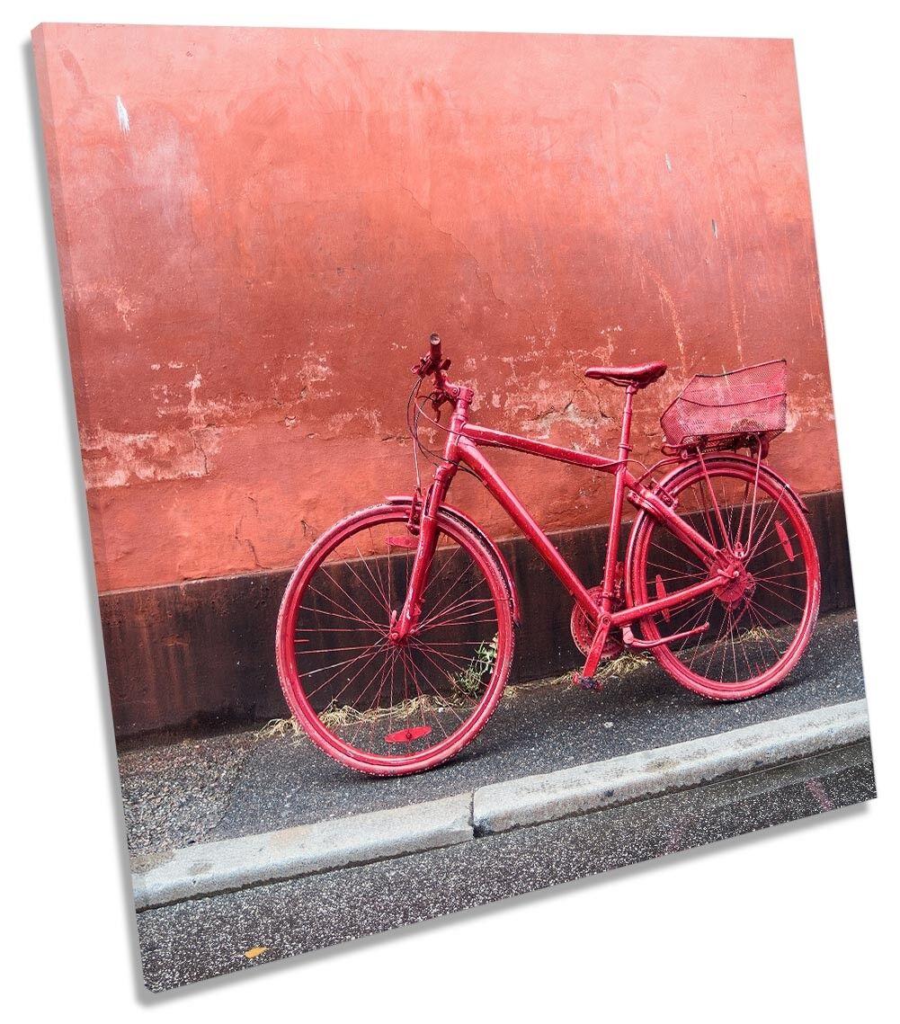 rot Retro Vintage Fahrrad Bild CANVAS Wand Kunst Square Drucken