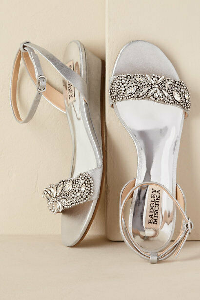 BADGLEY MISCHKA 8 EVENING CRYSTALS LEATHER ANKLE STRAP WEDGE SPARKLE BRIDAL  225