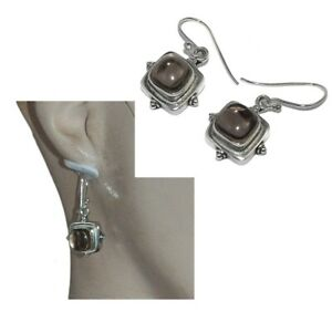 Boucles-d-039-oreilles-ethnique-en-argent-massif-925-quartz-fume-bijou