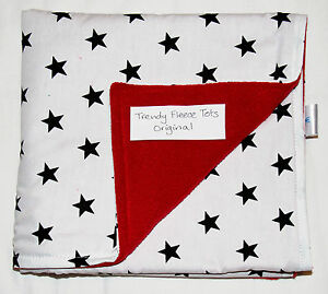 baby-BLANKET-cosatto-WHITE-BLACK-STARS-RED-crib-pushchair-pram-moses-cot
