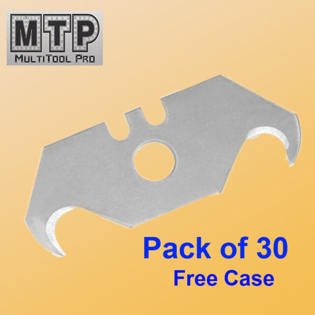 Pack 30 Pc Utility Hook Blades w/ Free Case Carpet Roofing Knife Standard Size