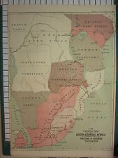 1890 DATED LARGE ANTIQUE MAP ~ SOUTH CENTRAL AFRICA BRITISH & GERMAN POSSESSIONS