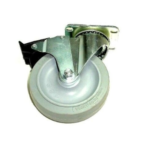 "Swivel Caster 5/""x1-1//4/"" Soft Rubber Wheel 2-1//2/""x3-5//8/"" Plate Total Lock Brake"