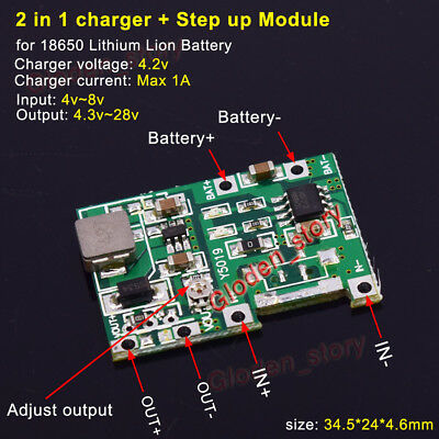USB Lithium 3.7V Battery Charging Module Tool 4.2V Boost Step Up 5V//9V//12V//24V
