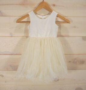 Flower-Girl-Dress-Size-2T-Ivory-Tulle-Satin-Lettuce-Hem-Wedding-Special-Occasion
