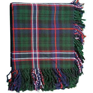 "Men/'s Scottish Kilt Fly Plaid Black Stewart Tartan Acrylic Wool 48/""X 48/""Purled"