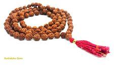 RUDRAKSHA RUDRAKSH JAPA MALA ROSARY 108+1 BEAD HINDU MEDITATION 5,6,7,8 MM BEADS