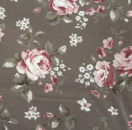 0,5 M de tela de algodón ♥ mathildas ♥ teerosen marrón ♥ Rosas