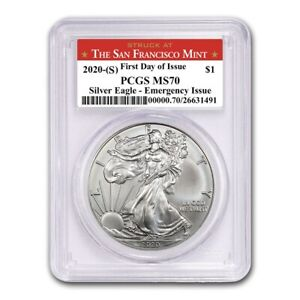 2020-S-Silver-Eagle-PCGS-MS70-First-Day-of-Issue-Emergency-issue-SF-Mint-Label