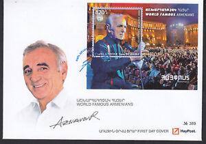 Armenia-MNH-2018-Mi-1076-Bl-93-FDC-Charles-Aznavour