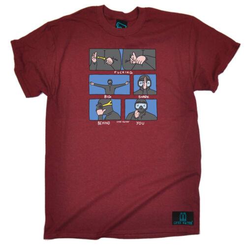 Immersioni subacquee T-shirt Divertenti Novità T-Shirt Maglietta da uomo-Fottuto BIG SQUALO dietro YO