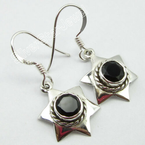 """Faceted Black Onyx 1.8 tcw Drop Dangle Earrings 1.2/"""" Solid Sterling Silver"""