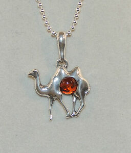 2.25g Camel Authentic Baltic Amber 925 Sterling Silver Pendant Jewelry N-A1605A