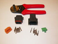 Black Deutsch Dt 8x Connector Kit With Solid Terminal Crimper Tool Male + Female