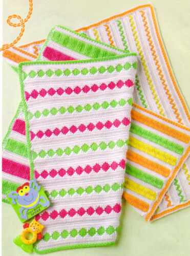 2 GORGEOUS Summertime Baby Brights Afghans//Crochet INSTRUCTION INSTRUCTIONS ONLY