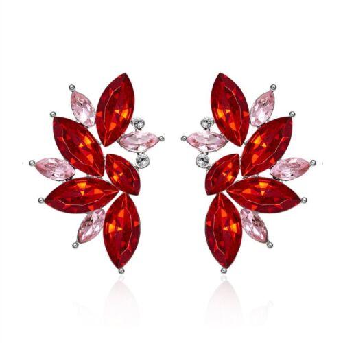 1Pair Fashion Elegant Lady Crystal Rhinestone Ear Clip Stud Dangle Drop Earrings