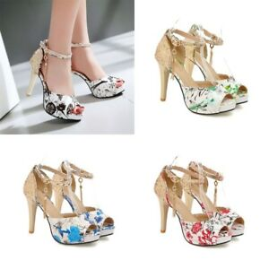 Womens-Floral-Slim-High-Heels-Ankle-Strap-Peep-Toes-Platform-Casual-Sequin-Shoes