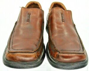 Clarks Loafer Men's 11 M Brown Leather Apron Toe Elastic Gore Slip On Shoe 78341