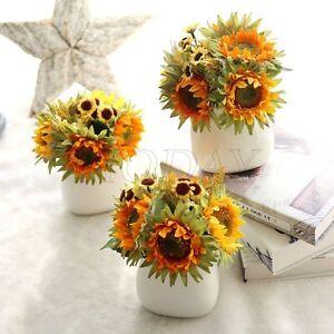 1-Bunch-Yellow-Fake-Sunflower-Artificial-Silk-Flower-Bouquet-Home-Floral-Decor