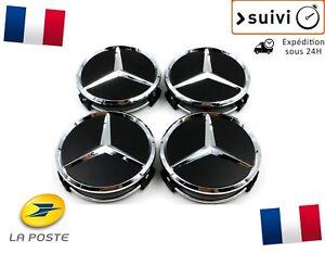 Cache-Moyeu-Centre-Roue-Enjoliveur-Emblem-jante-Logo-insigne-Mercedes-75mm-Noir