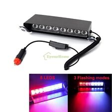 8 LED 3 Mode Car Truck Dash Strobe Flash Light Emergency Police Warning Blue/Red