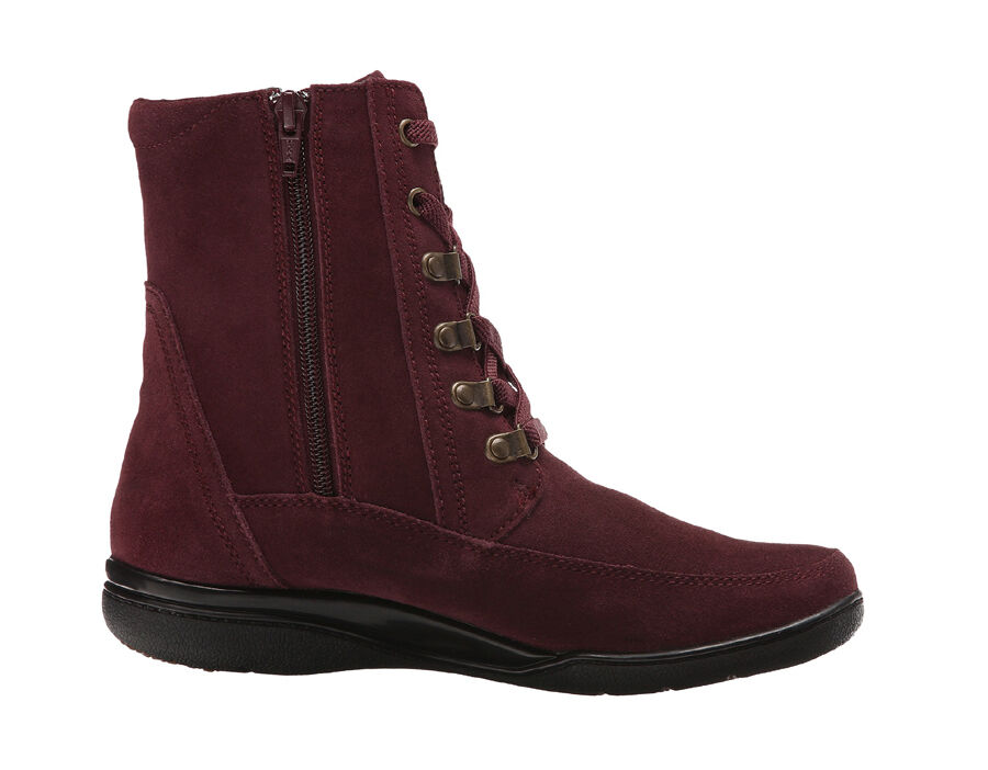 New Clarks KEARNS SIRENA Leather Women Boots Size 9 Burgundy (MSRP )