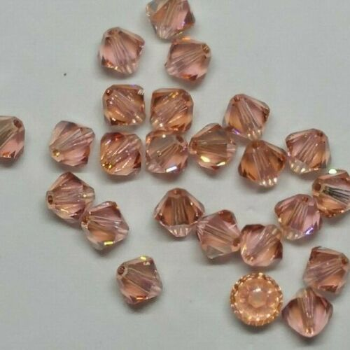 Swarovski Crystal Limited Edition Light Rose Gold Shadow Bicone Beads; 4mm// 6mm