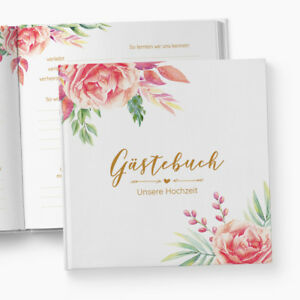 Gastebuch Floral Mit Fragen Hochzeit Geschenk Blumen Rosen Blatter