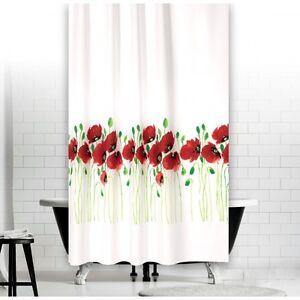 Cortina-de-ducha-tela-modelo-flor-amapola-240x180-cm-Blanco-Verde-Rojo-240-x