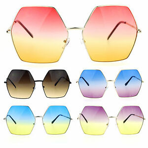 43063450bf Image is loading SA106-Gradient-Color-Lens-Oversized-Octagon-Retro-Hippie-