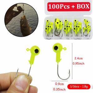 100Pcs 1/16 oz 2.4cm Lead Jig Heads Fishing Hooks Crappie Lure Bait Tackle Green