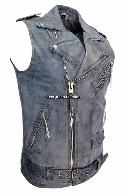 Men's blueE CRUST Brando 1025 Biker Steam Punk attrective Real Leather Waistcoat