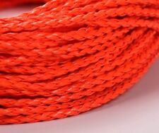 2 m geflochtenes Kunstlederband in neon orange pink 1,15 EUR pro m