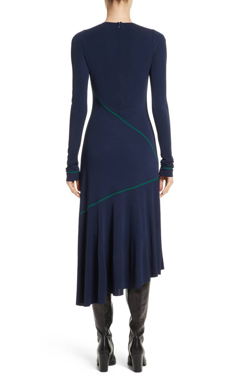 COLOVOS Navy Navy Navy bluee Kelly Green Seamed Jersey Fit Flare Asymmetric Midi Maxi S 4 6 ff9fbd